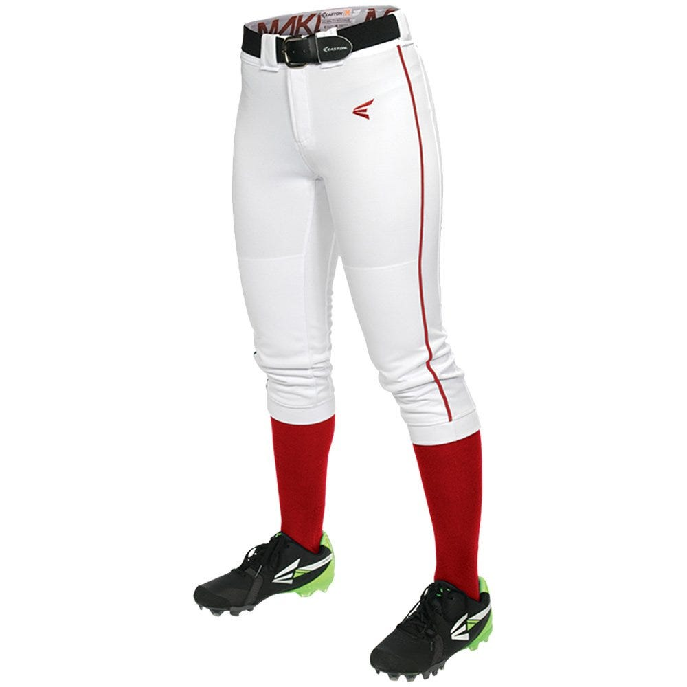 X-Small Softball Mako Piped Pant by Easton; Womens White/Red