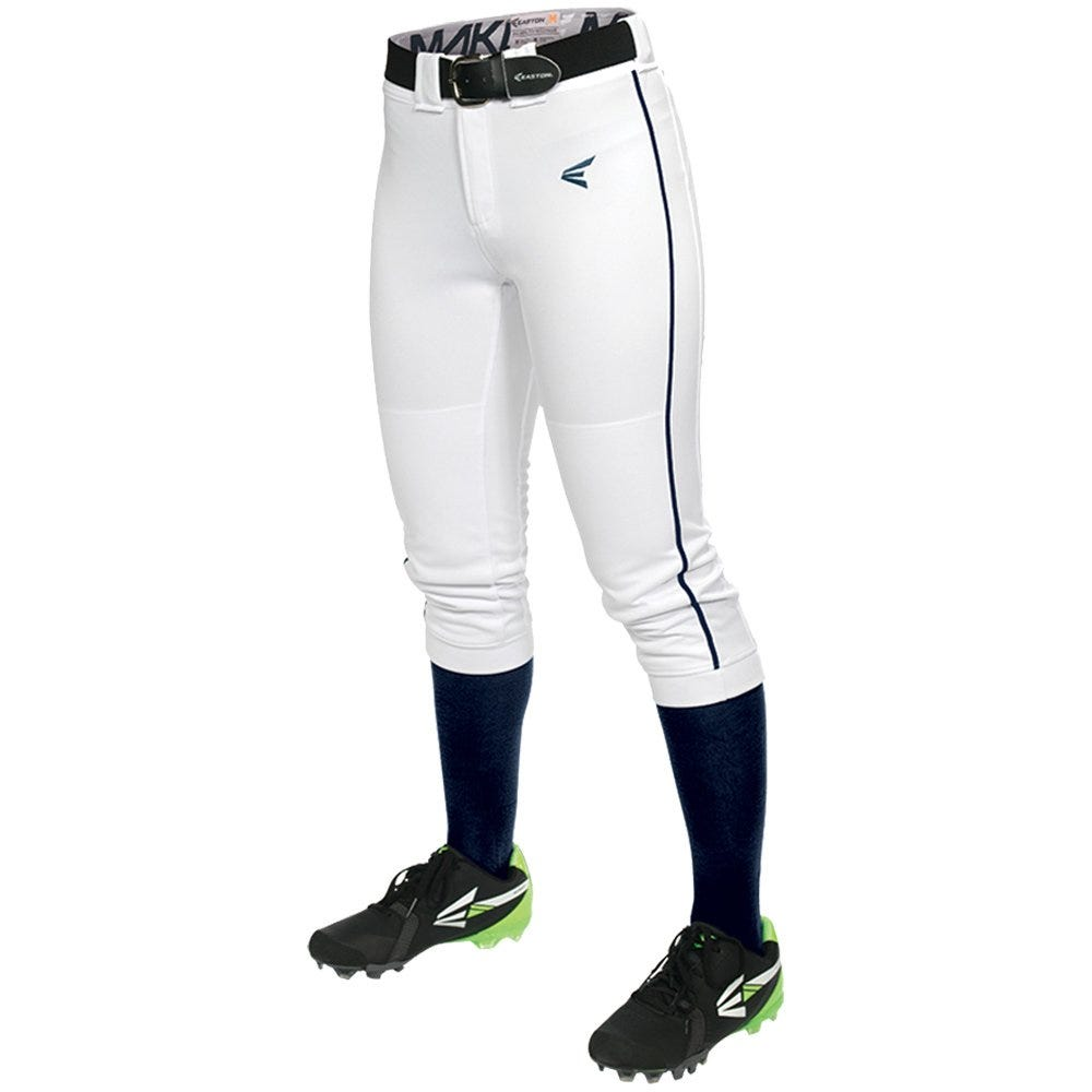 Small Softball Mako Piped Pant by Easton; Womens White/Navy