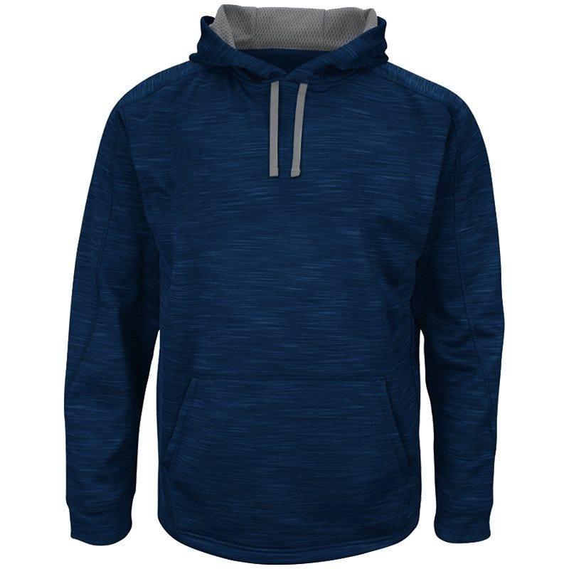 Therma Base Hooded Sweatshirt by Majestic; Baseball - M Navy/Grey