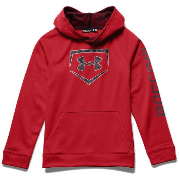 Baseball Storm Diamond Sweatshirt by Under Armour; Boys Large in Red