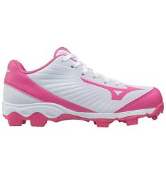 Mizuno 9-Spike Advanced Finch Franchise 7 Youth Low Molded Fastpitch Softball Cleats - White/Pink