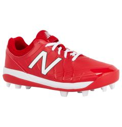 New Balance 4040v5 Boy's Low Molded Rubber Baseball Cleats - Red
