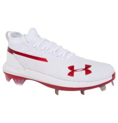 Under Armour Harper 3 ST Men's Low Metal Baseball Cleats - White/Red