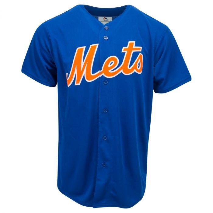 Majestic New York Mets Two-Button Mens Jersey T-Shirt