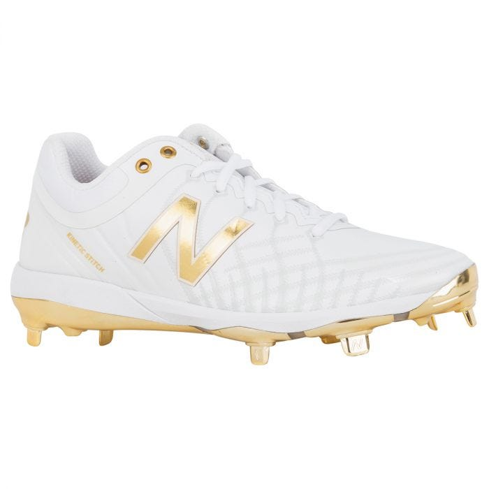 Low Metal Baseball Cleats - White/Gold
