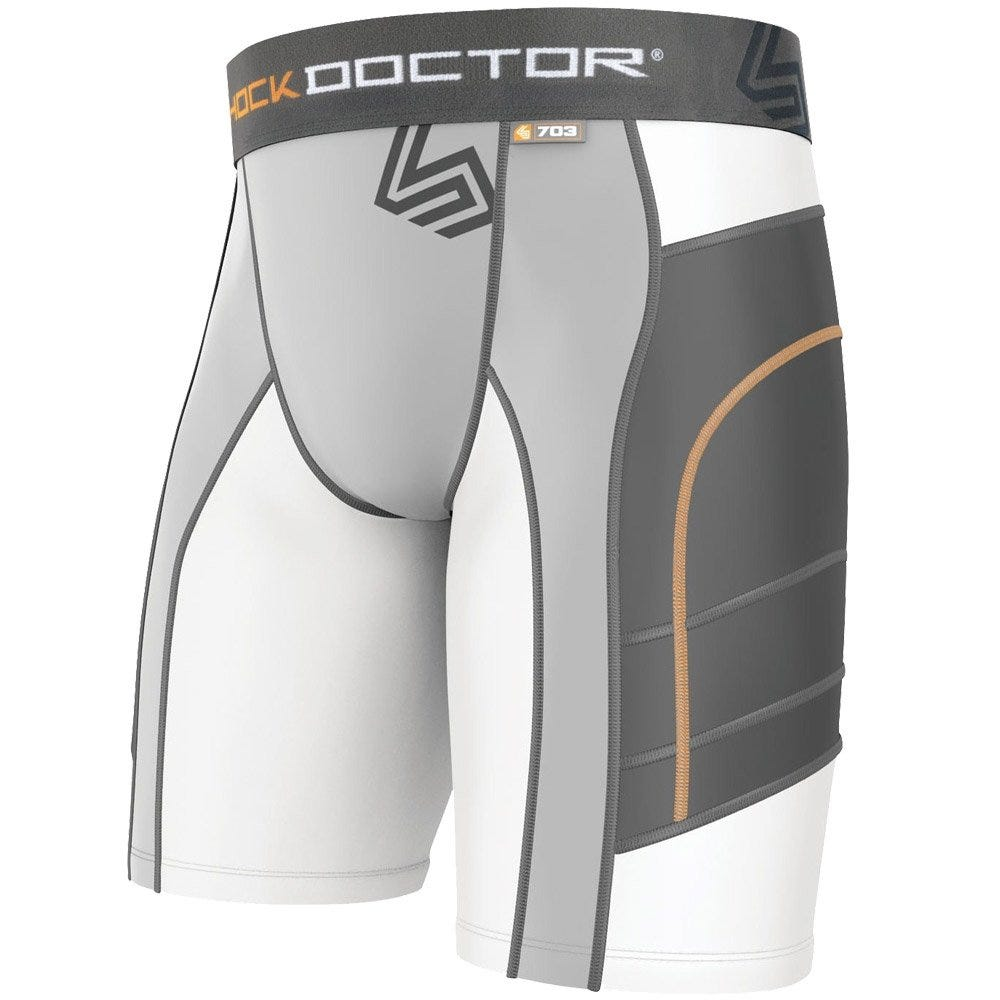 Shock Doctor Ultra Double Compression Boys Sliding Shorts; Small White
