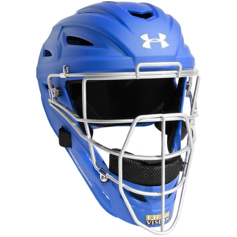 Boys Under Armour Force Baseball Catcher's Helmet; Royal - Youth
