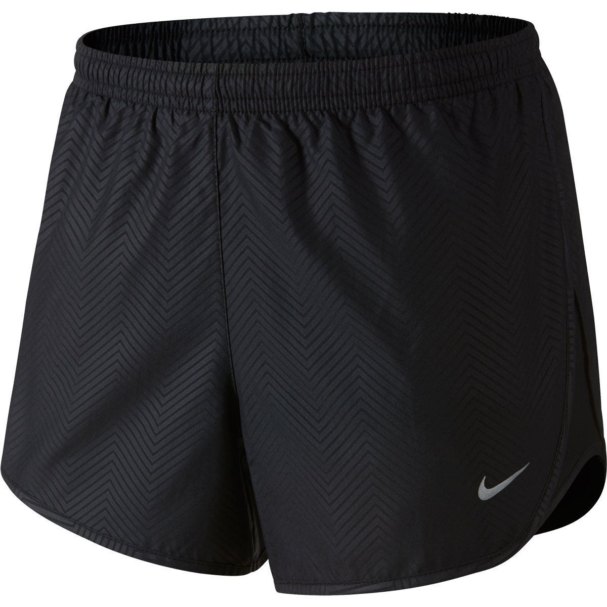 Tempo Modern Embossed Softball Shorts by Nike; Womens L Black/Silver