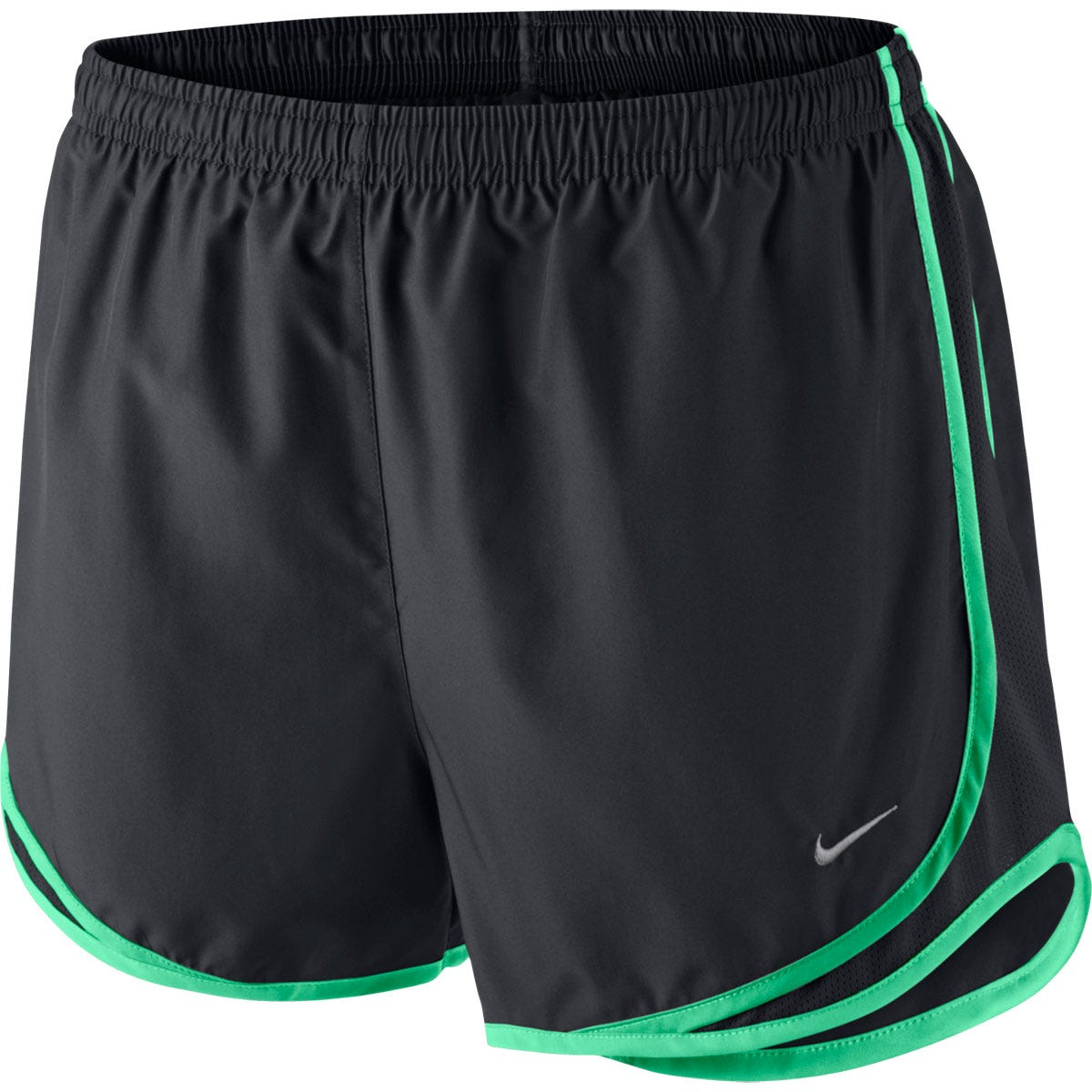 Nike Black/Green Elastic Waist Tempo Short - Womens Size Small