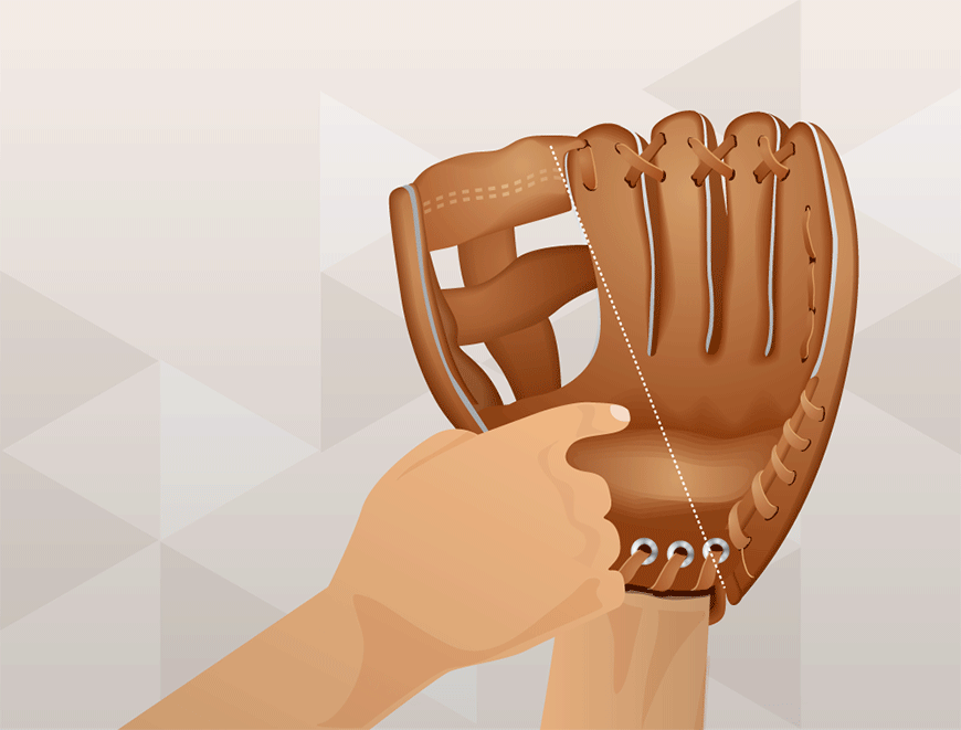 How to wrap a baseball glove - fold in half