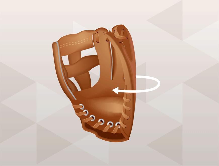 How to wrap a baseball glove - fold at pinky finger