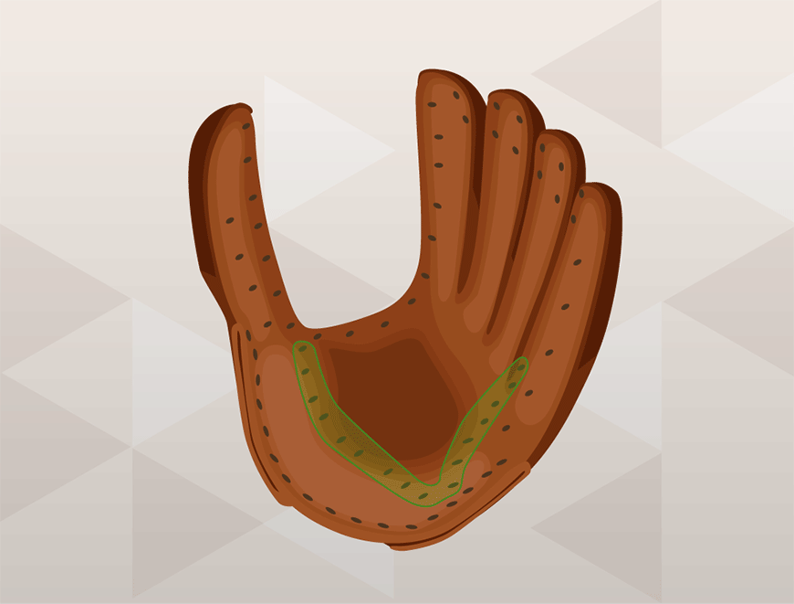 how to lace a baseball glove - start with the palm area