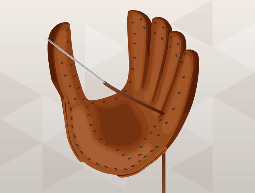 how to lace a baseball glove - feed the needle through