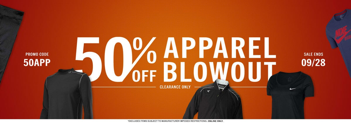 Take an extra 50% off clearance apparel!