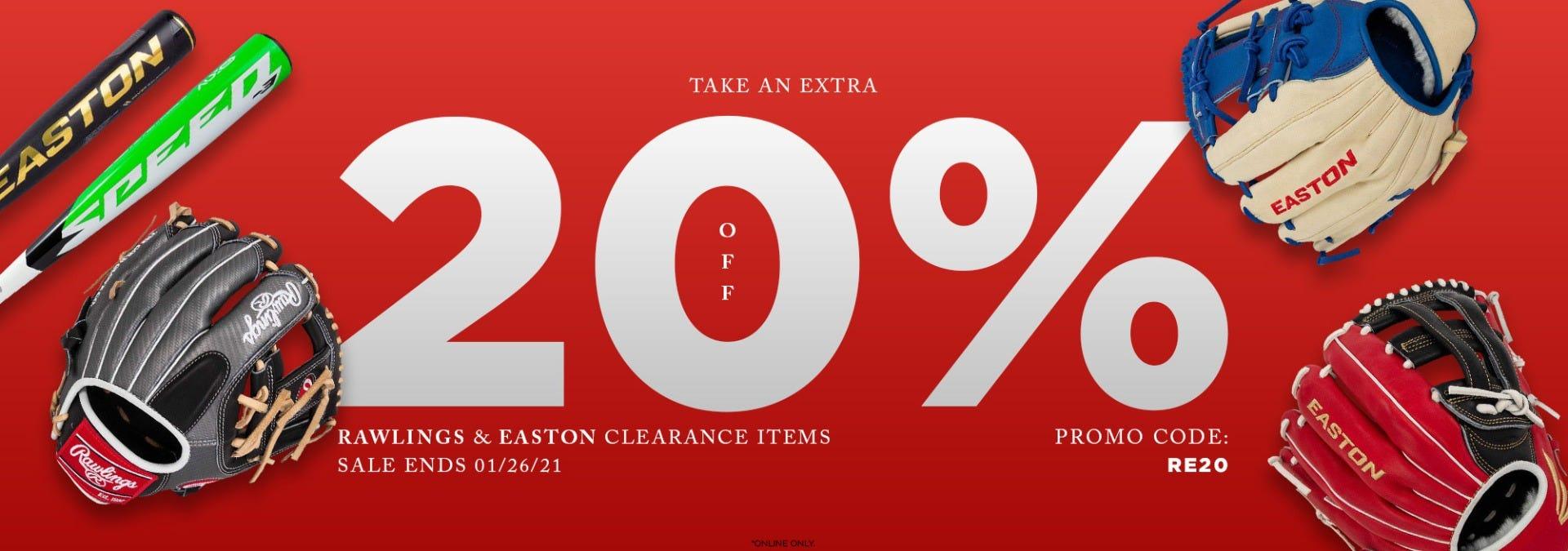 20% Off Clearance Easton & Rawlings