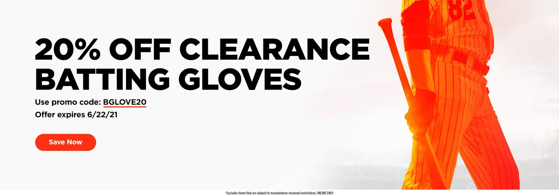 20% Off Clearance Batting Gloves