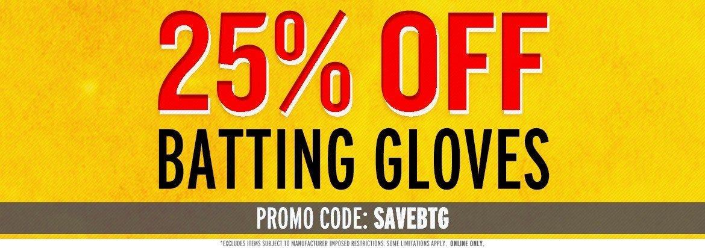 Save 25% on Batting Gloves