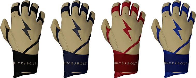 Bruce+Bolt Pro Natural Series Premium Cabretta Leather Long Cuff Men's Batting Gloves